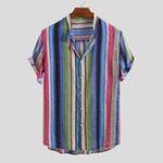 Оригинал Мужская цветная полоса с короткими рукавами и воротником-стойкой Гавайский шир