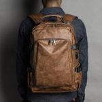 Оригинал Men Leisure Retro USB Charging Multifunctional Backpack