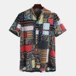 Оригинал Мужские Винтаж стильные летние рубашки свободной печати Шаблон