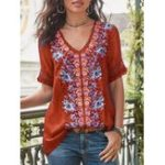 Оригинал Женская повседневная блузка с коротким рукавом с V-образным вырезом