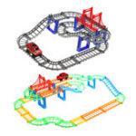 Оригинал 88шт / 90шт DIY трек гонки Авто детские игрушки Набор электрические Авто трек игрушки детские подарки 63,5 * 31,5 * 14,5 см
