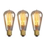 Оригинал Elfeland 3PCS Straight Провод Amber Shell E27 ST58 40 Вт Винтаж Эдисон лампа накаливания AC220V