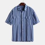 Оригинал Мужские летние рубашки с двумя карманами в полоску с двумя рукавами Винтаж