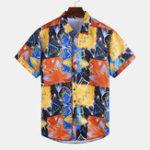 Оригинал Mens Summer Holiday Colorful Печатные повседневные рубашки