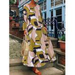 Оригинал Женская футболка с длинным рукавом с цветочным принтом Baggy Long Maxi Платье