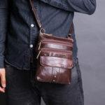 Оригинал Мужская повседневная ретро-сумка с несколькими карманами Сумка Плечо