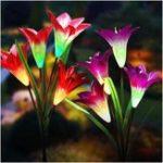 Оригинал 2шт 4LED Солнечная Power Lily Цветочная колья Свет Многоцветный Изменение Водонепроницаемы На открытом воздухе Сад Лампы