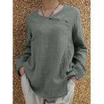 Оригинал Женщины Хлопок Pure Color Button O-образным вырезом с длинным рукавом блузка