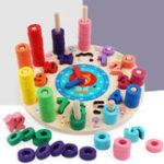 Оригинал Деревянные блоки Puzzle Board Набор деревянных игрушек 12 номеров Часы Игрушка для детей дошкольного возраста Развивающие игрушки для подсчета