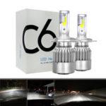 Оригинал 2шт 12В / 24В C6 LED Лампа H1/H4/H7/H11/9005/9006 Белые фары 72W 7200Lm COB Фара автоматическая противотуманная фара Лампа Лампа