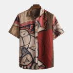 Оригинал Мужские летние абстрактные набивные рубашки из 100% хлопка с коротким рукавом