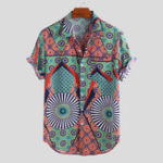 Оригинал Mens Ethnic Style Pattern Printed Short Sleeve Loose Shirts