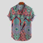 Оригинал Mens Ethnic Style Pattern Printed Short Sleeve Loose Shirts