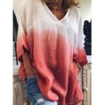 Оригинал Повседневная блузка с v-образным вырезом с цветочным принтом и свободным рукавом