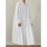 Оригинал Женщины Свободные отворотом плиссированные сплошной цвет кнопки Платье