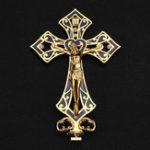 Оригинал Металлический Сплав Иисуса Христа Крест Золотая композиция Винтаж Статуя Декор Стола Коробка Украшения