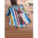Оригинал Ретро многоцветный полосатый принт воротник стойка 3/4 рукав Рубашка