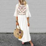 Оригинал Женская рукава 3/4 чешского цвета с длинным рукавом макси с цветочным принтом Платье