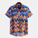 Оригинал Мужчины Colorful рубашки Генри с коротким рукавом с принтом Chevron