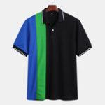Оригинал Mens Summer Color Block отложным воротником повседневная Гольф Рубашка