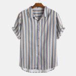 Оригинал Mens Plaid Printing Летние повседневные свободные рубашки
