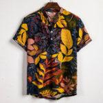 Оригинал Мужская летняя Лист рубашка с принтом и воротником наполовину Кнопки рубашки