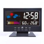 Оригинал Bakeey Digital LCD Термометр Гигрометр Звук Активированный экран Прогноз погоды Календарь трендов температуры Сигнал дремоты Часы