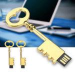 Оригинал Металлический Золотой Ключ 16GB 32GB USB 2.0 Flash Drive U Диск Для Ноутбука Ноутбук Динамик ТВ