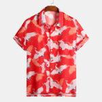 Оригинал Mens Fashion Crane Печатный китайский нагрудный карман рубашки