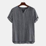 Оригинал Mens Винтаж 100% хлопок V Шея повседневные рубашки с коротким рукавом