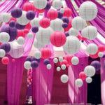 """Оригинал 30 шт. За комплект 6 """"-14"""" фиолетовый белая роза бумажный фонарь китайский круглый Лампа крышка Свадебное подвесной декор"""