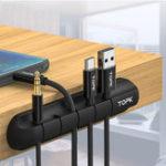 Оригинал TOPK Desktop Tidy Кабель управления Органайзер Winder для iPhone X XS HUAWEI XIAOMI MI9 S10 S10+ Кабель для передачи данных и Мышь наушников Провод