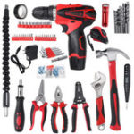Оригинал 98Pcs Electric Cordless Drill Wrench Hammer Screwdriver Multifunctional Home Repair Tool Set