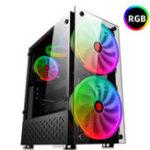 Оригинал RGB Computer Чехол Двухсторонние закаленные стеклянные панели ATX Gaming Cooling PC Чехол с двумя 20-см вентиляторами Поддержка 360-мм видеокарты