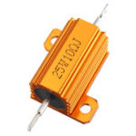 Оригинал 3pcs RX24 25W 10R 10RJ Metal Aluminum Case High Power Resistor Golden Metal Shell Case Heatsink Resistance Resistor