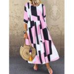 Оригинал Женская рукава с вырезом 3/4 с геометрическим принтом Loose Maxi Платье