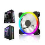 Оригинал 12CM 6 Pin 12 режимов Регулируемый Colorful RGB LED Бесшумный Компьютер Чехол Вентилятор охлаждения для ПК Компьютер Чехол