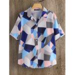 Оригинал Женская рубашка с отложным воротником и геометрическим принтом