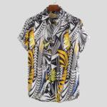 Оригинал Мужские нерегулярные рубашки с короткими рукавами и принтом Шаблон
