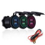 Оригинал P15-S Сенсорный выключатель со шнуром питания 2.1A + 2.1A Dual USB Авто Моторизованное модифицированное зарядное устройство для мобильного телефона