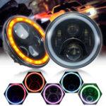 Оригинал Pair 7 дюймов 19 RGB LED Авто Передние фары IP67 Монтируемый одноприводный Встроенный Лампа Автоматическая замена Angel Eye Высокий 60 Вт / 4000LM Низкий 45 В