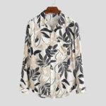 Оригинал Мужчины Лист Рубашки с длинными рукавами и цветочным принтом