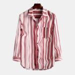 Оригинал Мужские практичные карманные рубашки с воротником в полоску Винтаж