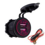 Оригинал P18-S Сенсорный выключатель со шнуром питания 2.4A + 2.4A Dual USB Авто Моторная лодка Модифицированное зарядное устройство для телефона 12-24В