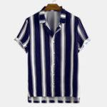 Оригинал Мужская полосатая печать отложным воротником повседневные рубашки