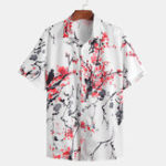 Оригинал Рубашки с коротким рукавом с принтом в восточном цвете сливы