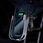 Оригинал Baseus Metal Glass 10W Qi Беспроводное зарядное устройство Smart Infrared Датчик Замок Air Vent Авто Держатель для телефона для 4.5-6.5 дюймов Смартфон iPhone Samsung