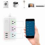 Оригинал DHEKINGD D222 Smart WIFI APP для управления удлинителем с 3 розетками US 3 розетки USB для быстрой зарядки Разъем App Control Work Power Outlet