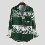 Оригинал Mens Лист Печатный осенний карман Дизайн Рубашки с длинным рукавом