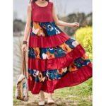 Оригинал Винтажное платье без рукавов с длинными рукавами и цветочным принтом Maxi Платье